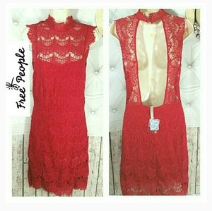 NWT🔥 Free People Lace Cherry Red Womens Dress mid